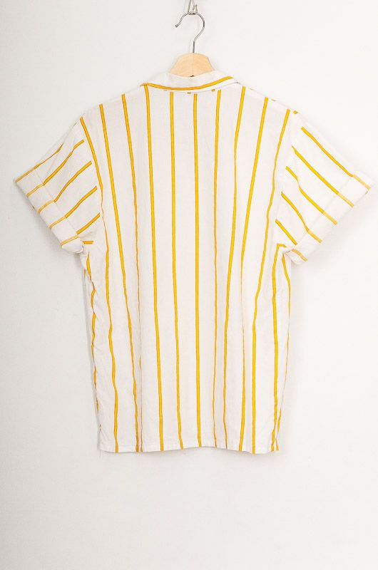 Vintage 90s Yellow Striped Cotton Shirt Size M - L - 3