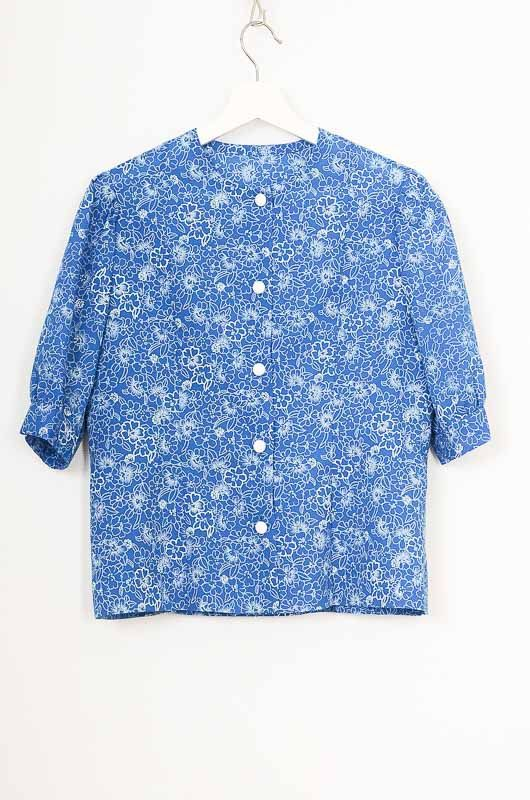 Vintage 70s Blue Daisies Hand Made Shirt Size M - 2