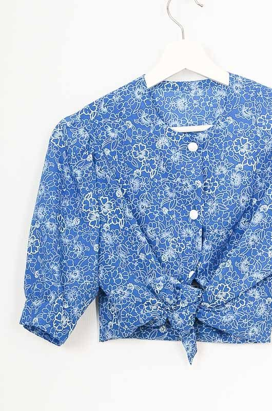 Vintage 70s Blue Daisies Hand Made Shirt Size M - 1