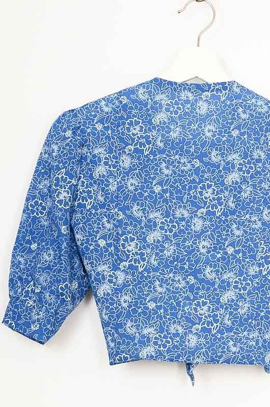 Vintage 70s Blue Daisies Hand Made Shirt Size M - 4