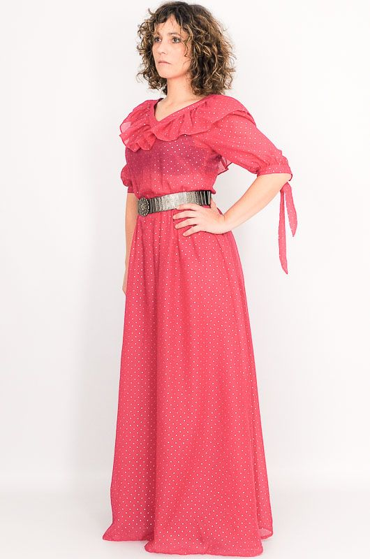 Vintage 60s 70s Pink Polka Dots Long Dress Size S - 4