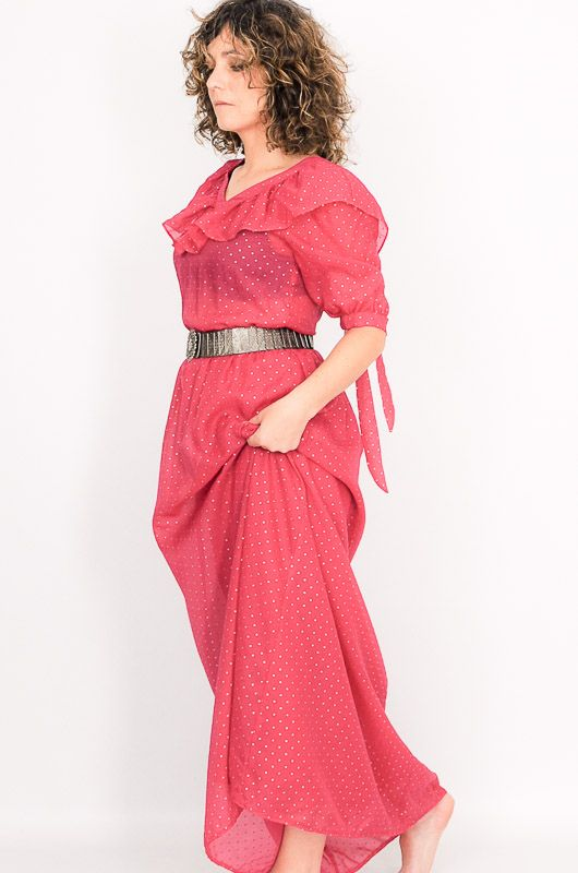 Vintage 60s 70s Pink Polka Dots Long Dress Size S - 5