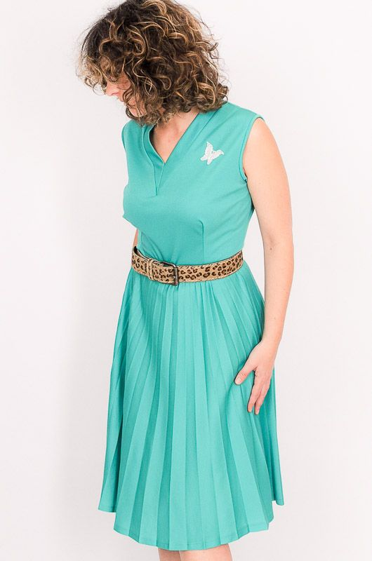 Vintage 60s 70s Pleated Green Butterfly Dress Size M - 3