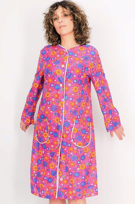 Dress - Vintage 60s Flower Power Pink Robe Size M - 1
