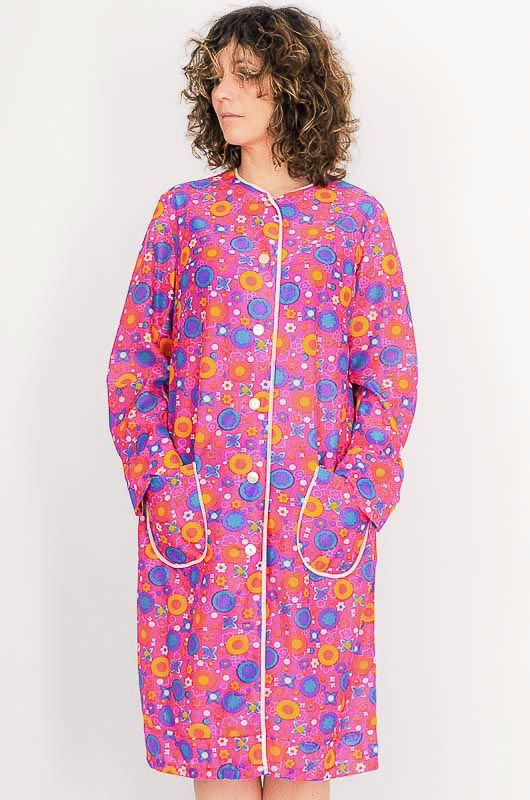 Dress - Vintage 60s Flower Power Pink Robe Size M - 2