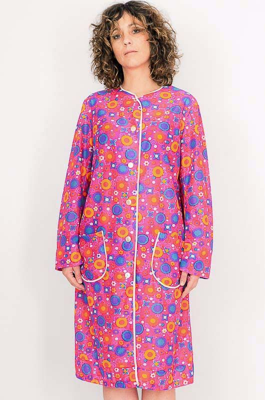 Dress - Vintage 60s Flower Power Pink Robe Size M - 3
