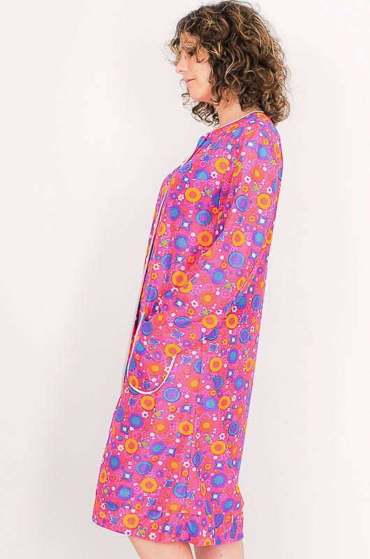 Dress - Vintage 60s Flower Power Pink Robe Size M - 4