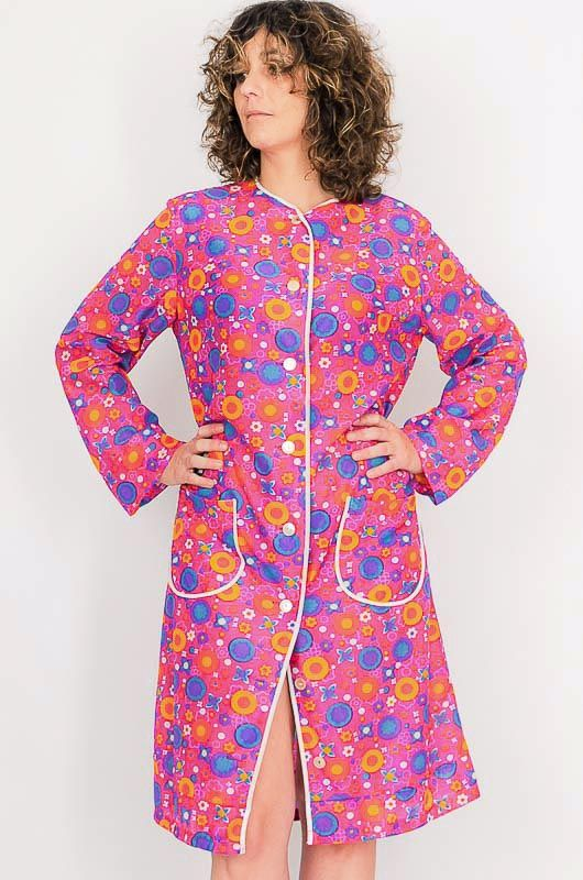 Dress - Vintage 60s Flower Power Pink Robe Size M - 5