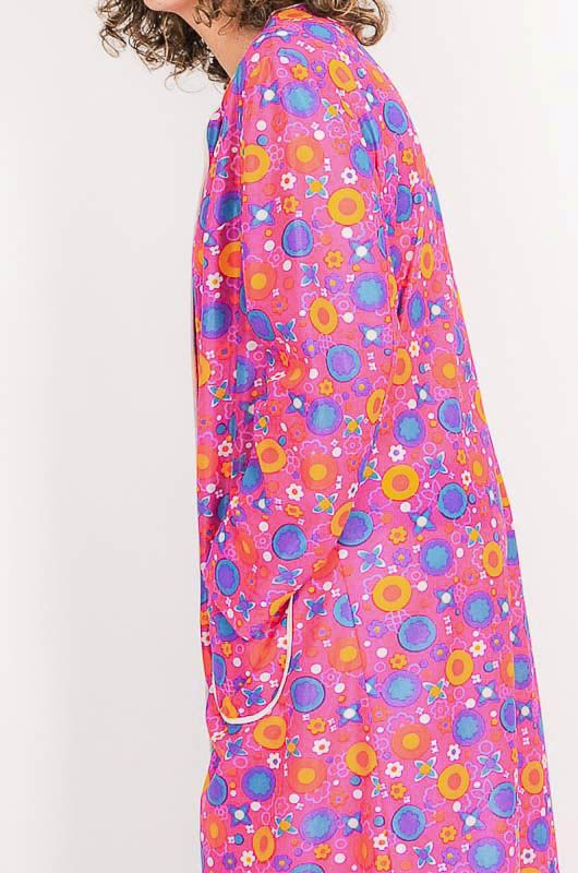 Dress - Vintage 60s Flower Power Pink Robe Size M - 6