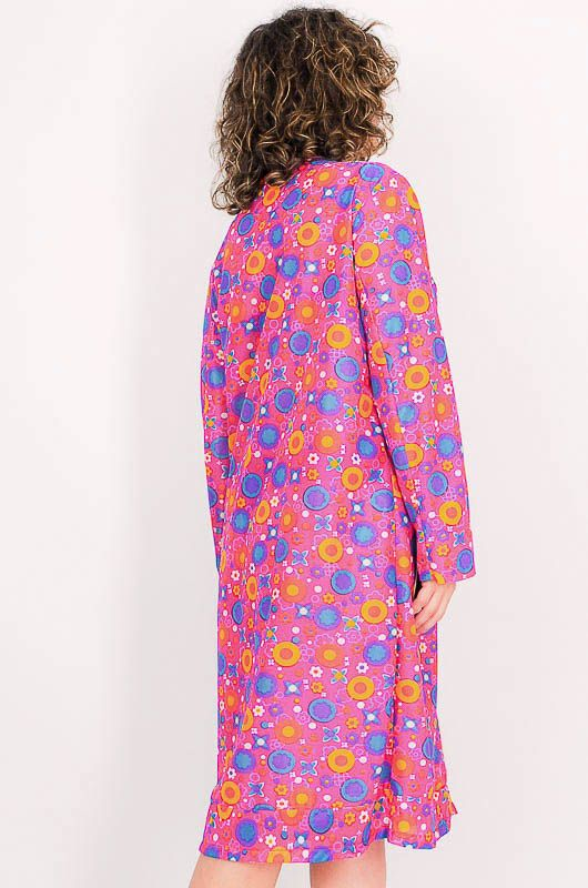 Dress - Vintage 60s Flower Power Pink Robe Size M - 7