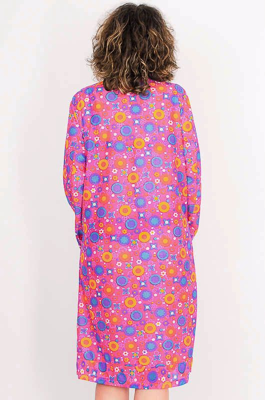 Dress - Vintage 60s Flower Power Pink Robe Size M - 8