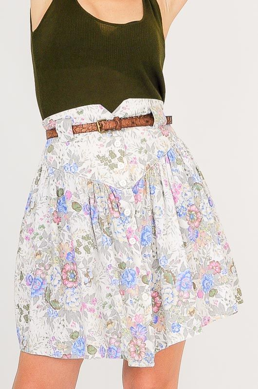 Vintage 80s White Flowers Skirt Size L - 2
