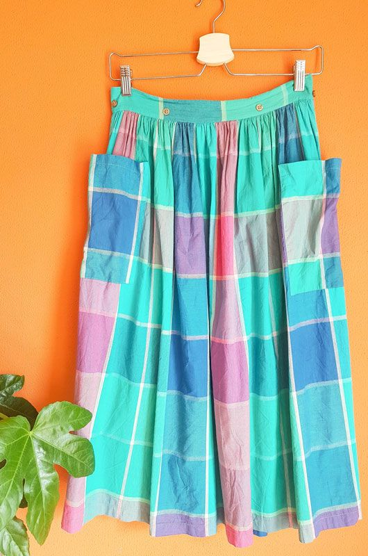 Vintage 80s Skirt Checked Picnic Pockets Cotton Size S - 1