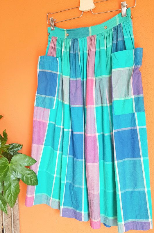Vintage 80s Skirt Checked Picnic Pockets Cotton Size S - 4