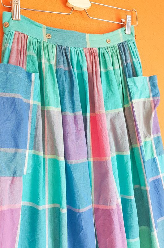 Vintage 80s Skirt Checked Picnic Pockets Cotton Size S - 3