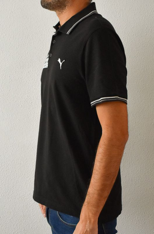 Polo Vintage Puma Negro Sport Becker Talle L - 3
