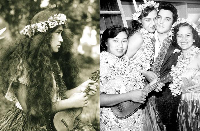 Izquierda: Bailarina de hula con ukelele en 1912. Derecha: Elvis en Matsonia el 9 de noviembre de 1957.